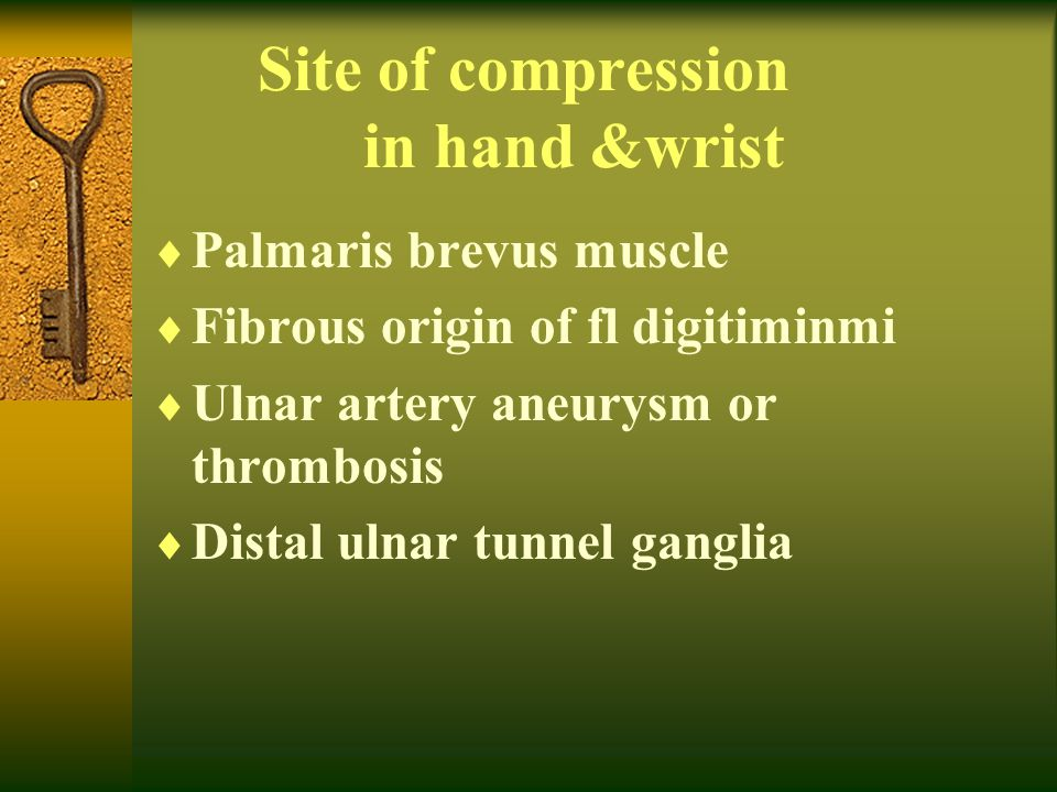 Site of compression in hand &wrist