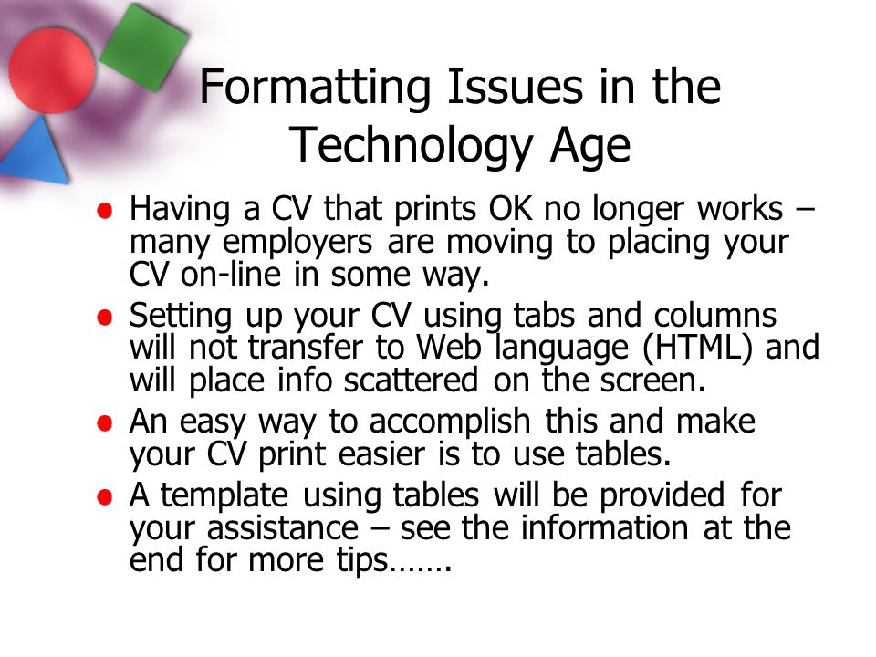 Formatting Issues in the Technology Age