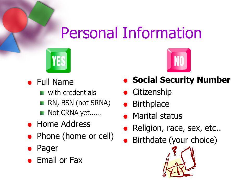 Personal Information Social Security Number Full Name Citizenship