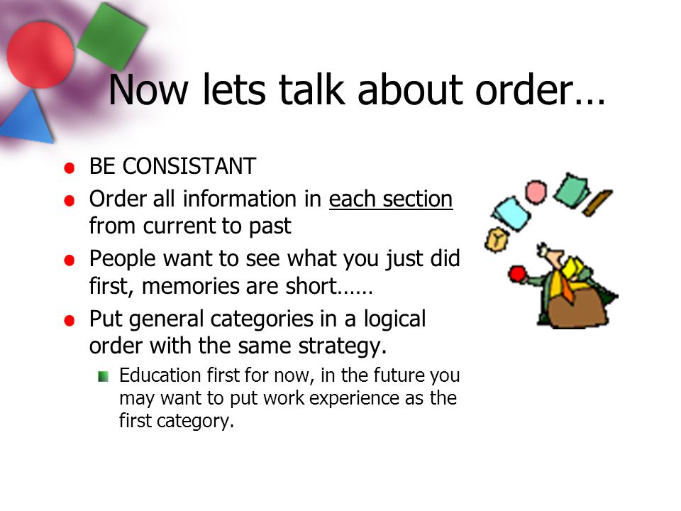 Now lets talk about order…
