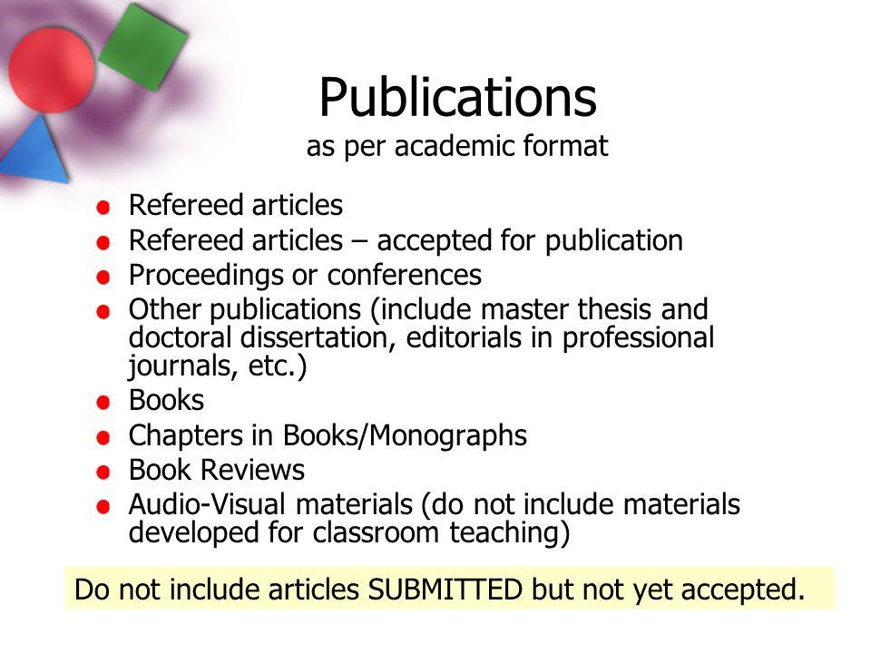 Publications as per academic format