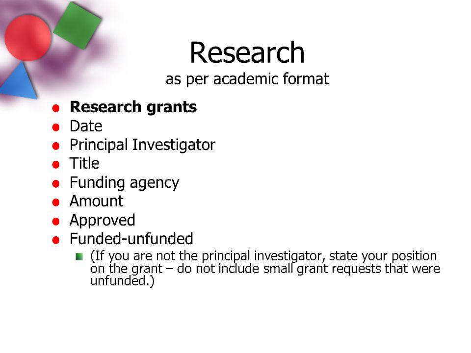 Research as per academic format
