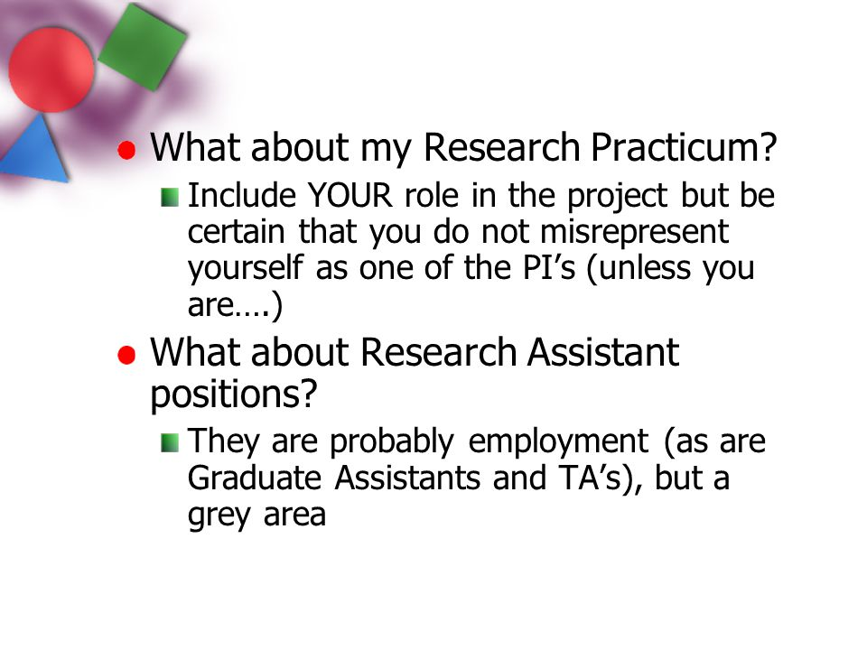 What about my Research Practicum