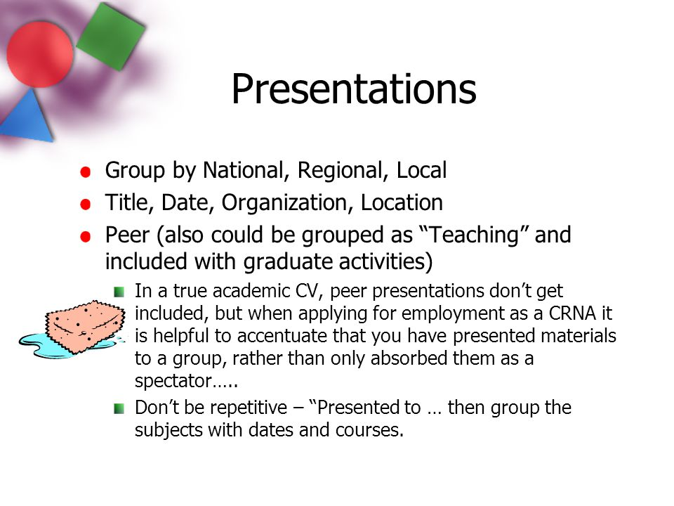 Presentations Group by National, Regional, Local
