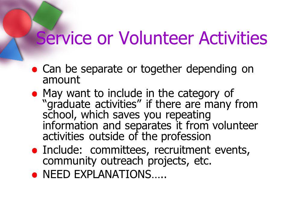 Service or Volunteer Activities