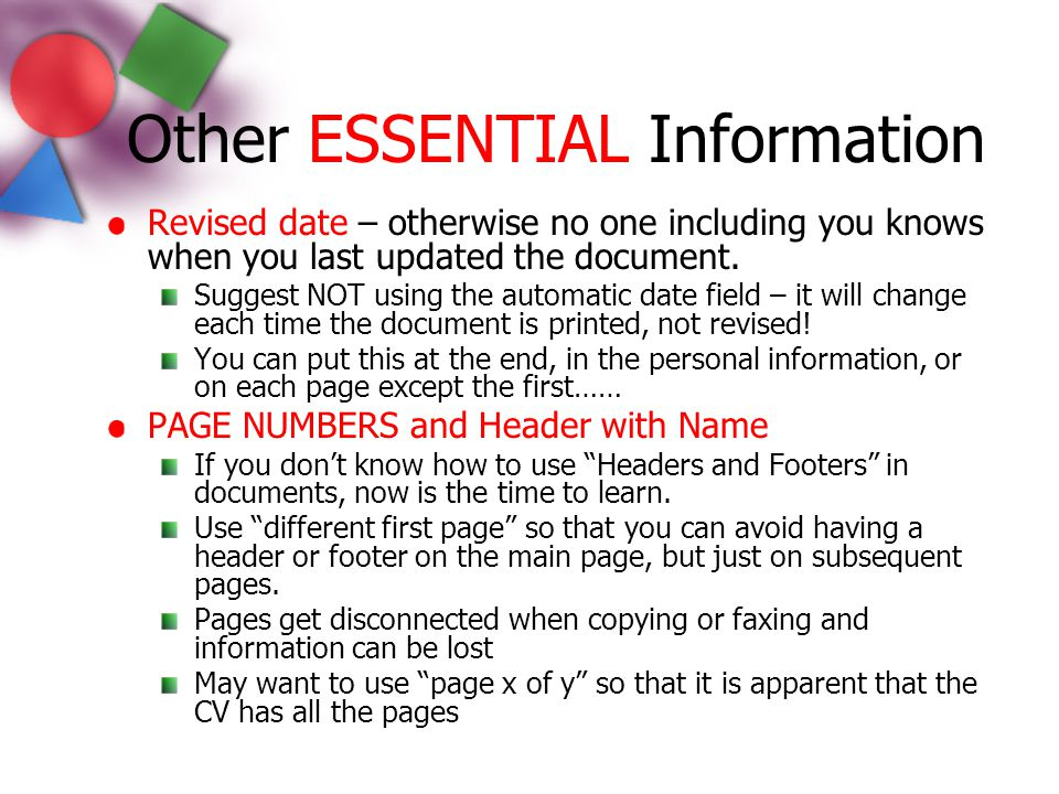 Other ESSENTIAL Information