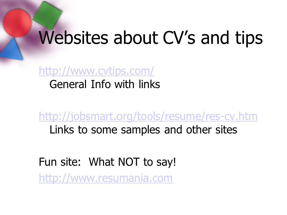 Websites about CV's and tips