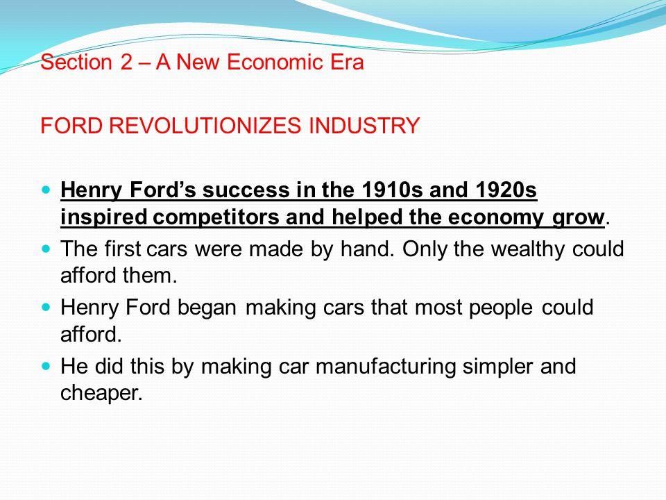 Section 2 – A New Economic Era