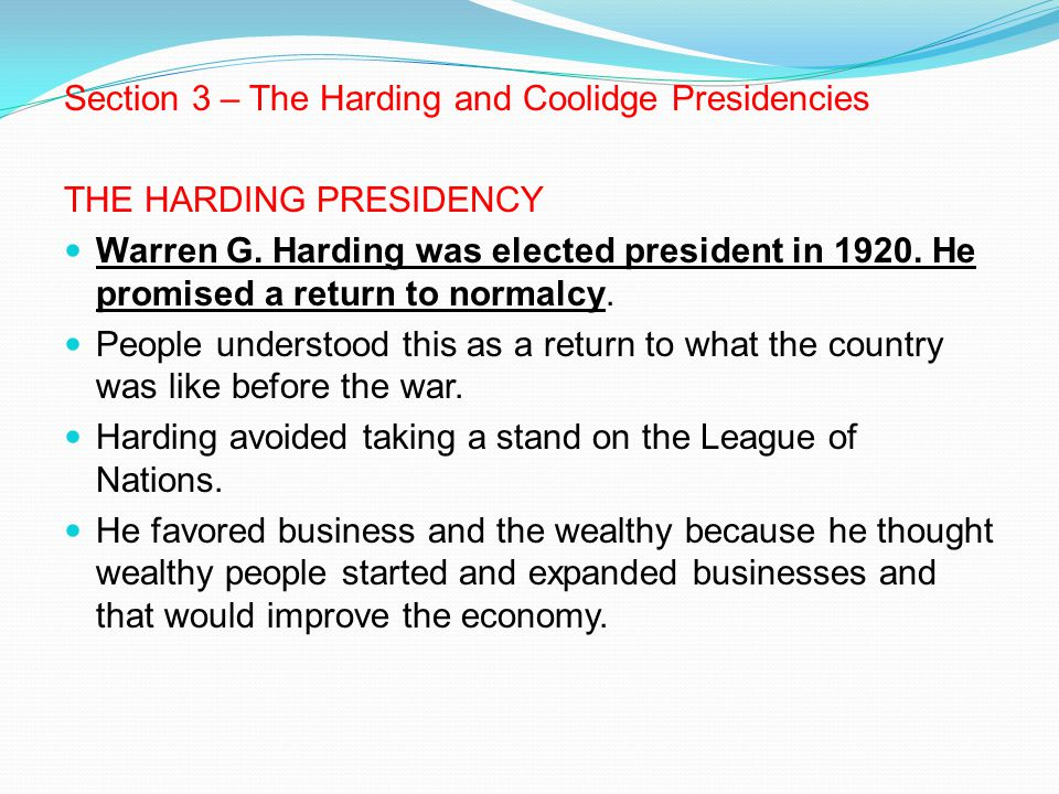Section 3 – The Harding and Coolidge Presidencies