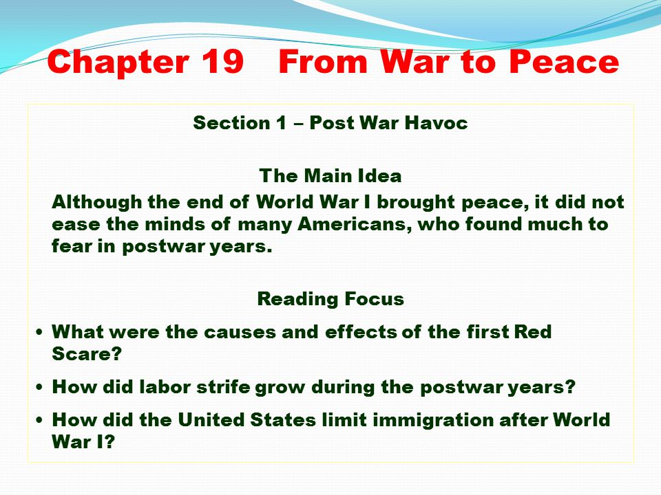 Chapter 19 From War to Peace