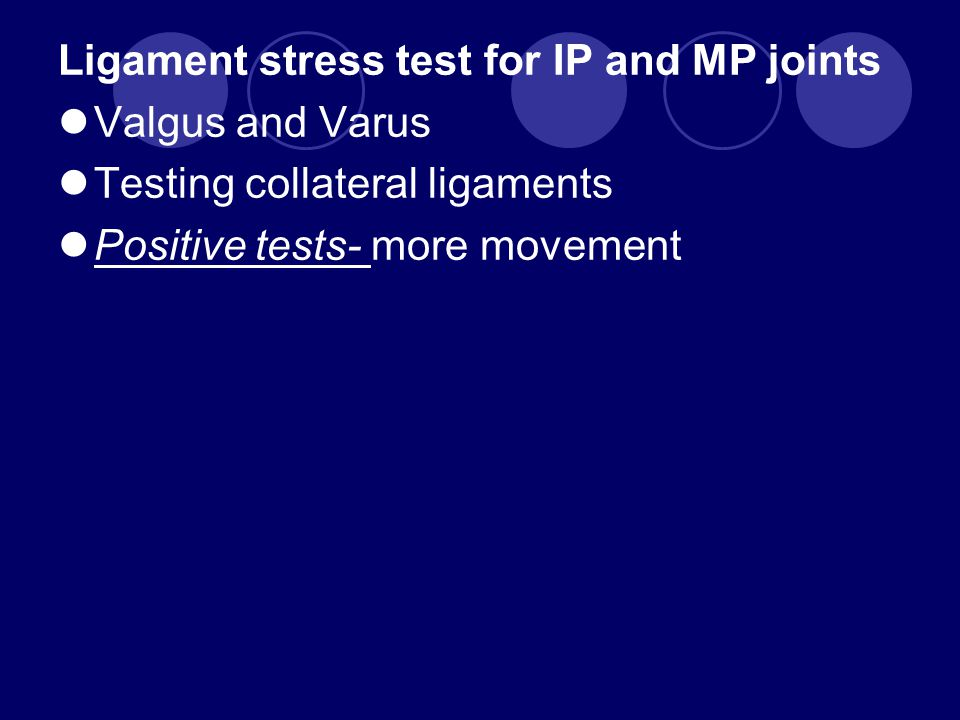 Ligament stress test for IP and MP joints