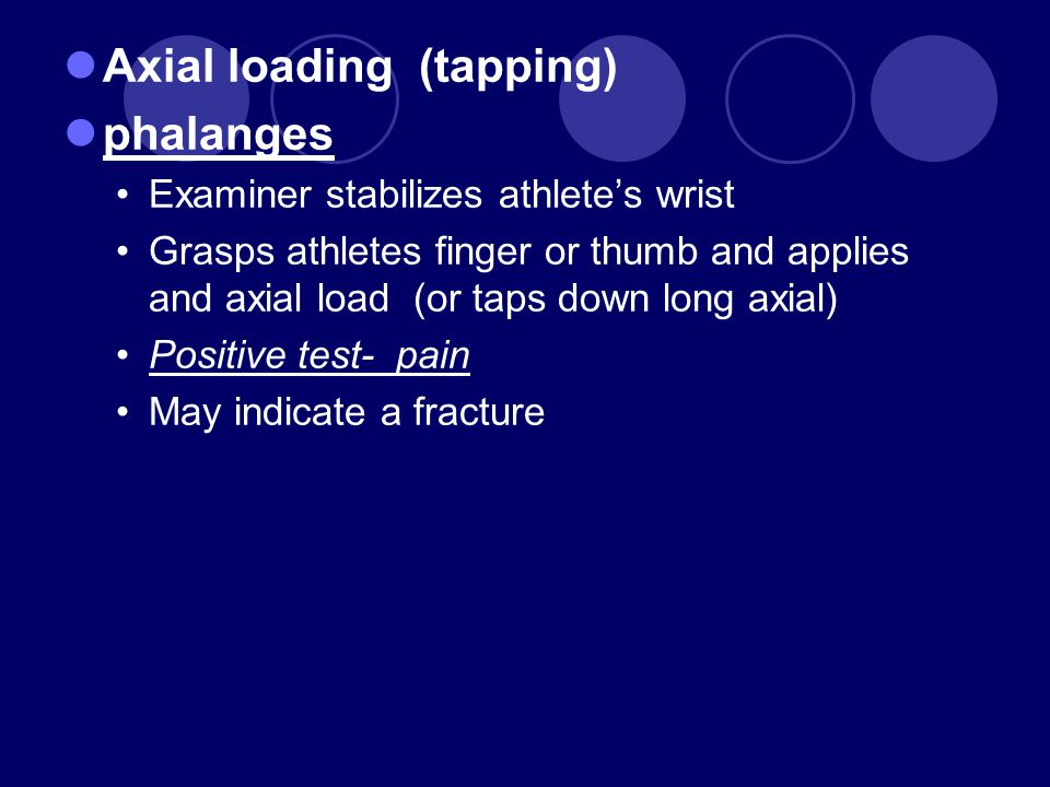 Axial loading (tapping) phalanges