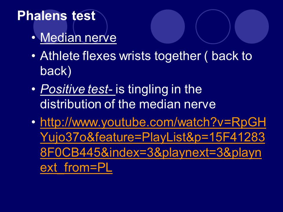 Phalens test Median nerve