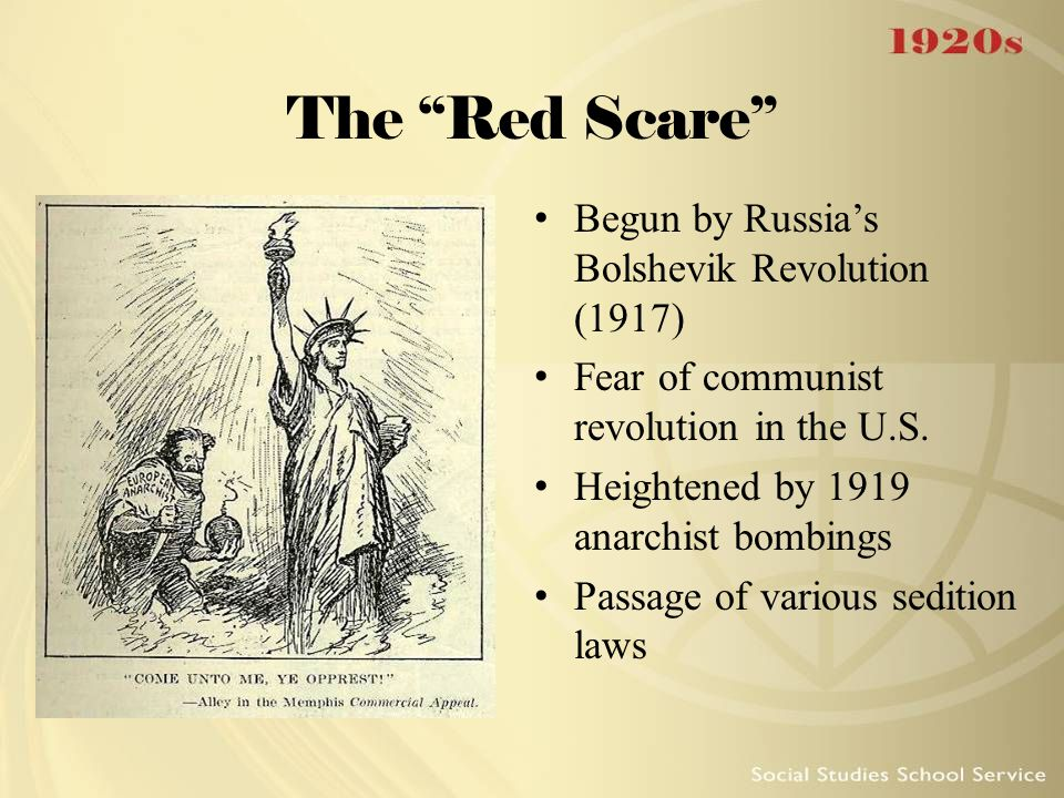 The Red Scare Begun by Russia's Bolshevik Revolution (1917)