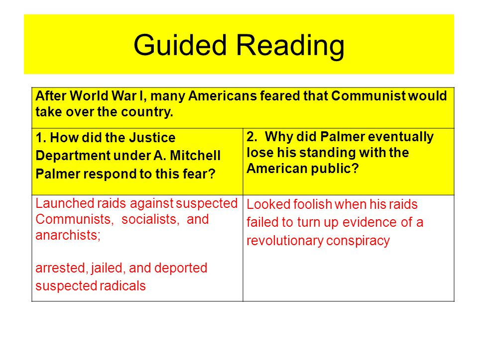 Guided Reading After World War I, many Americans feared that Communist would take over the country.