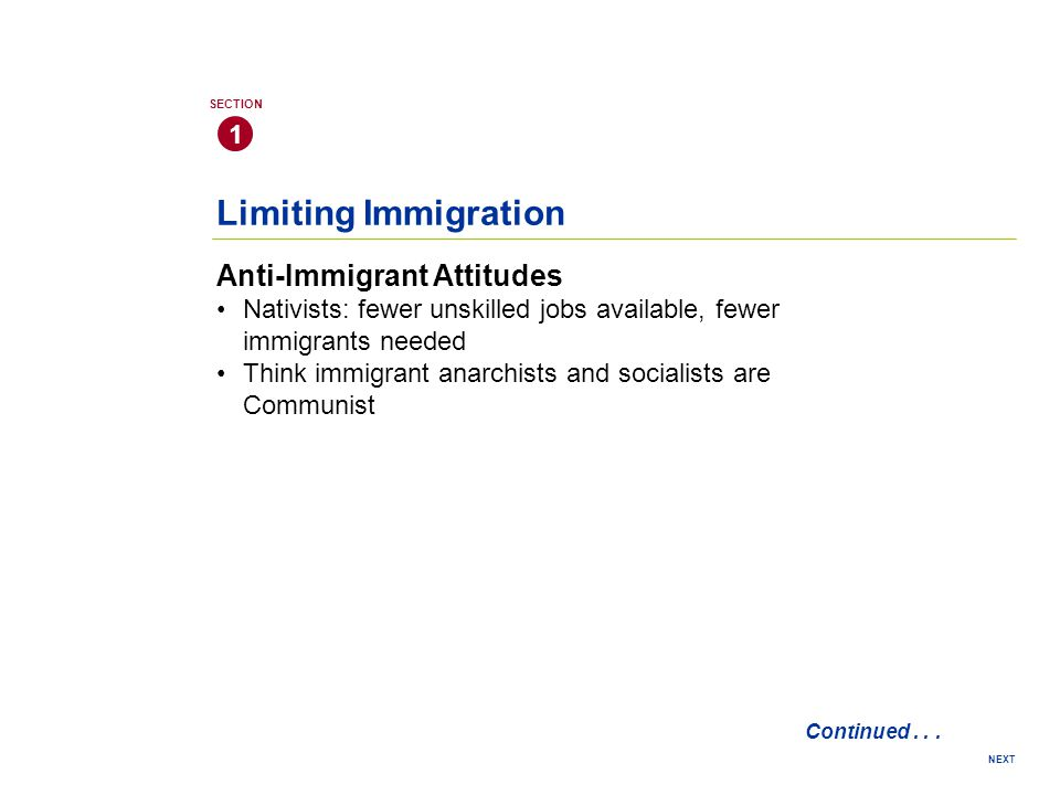 Limiting Immigration Anti-Immigrant Attitudes 1