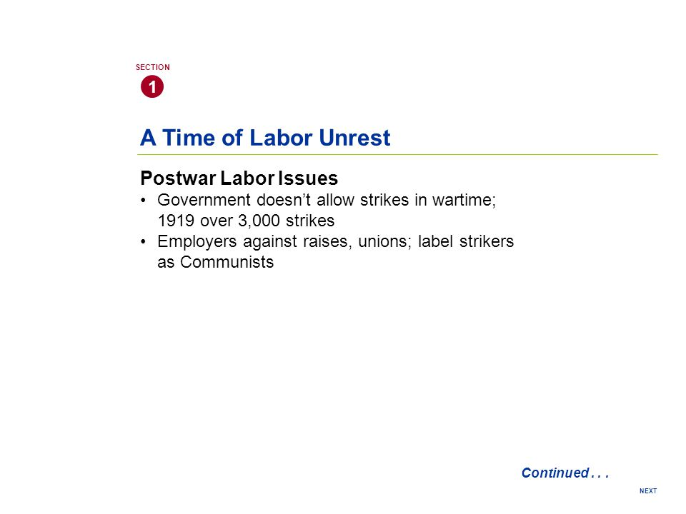A Time of Labor Unrest Postwar Labor Issues 1