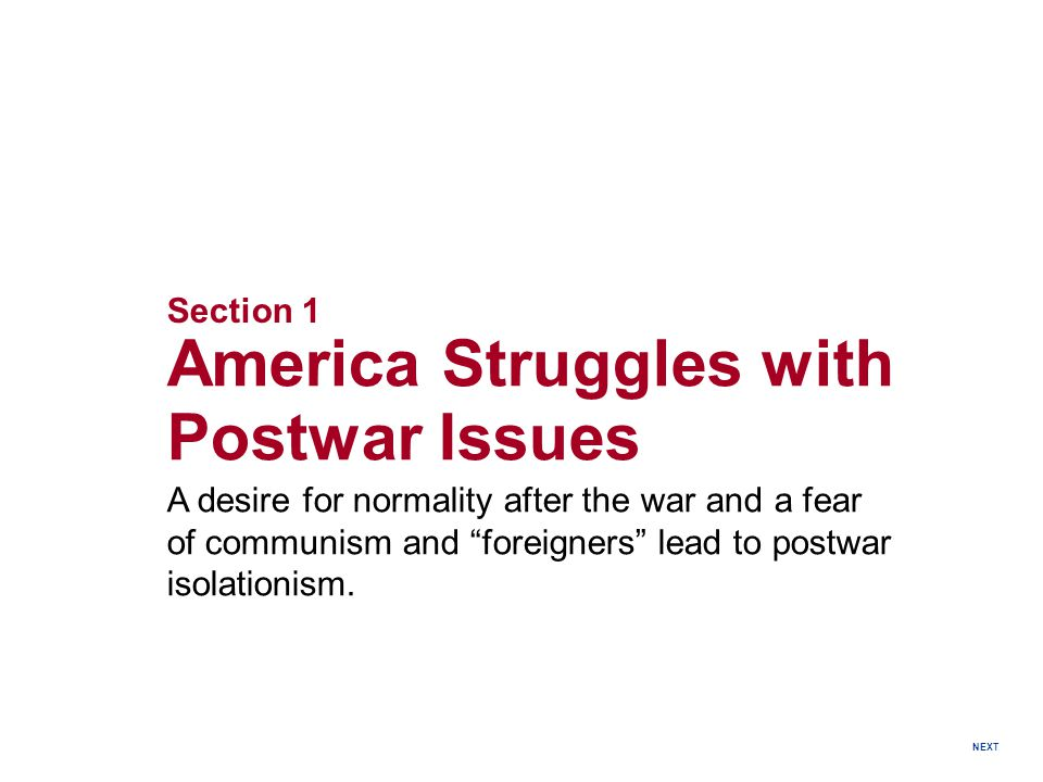 America Struggles with Postwar Issues