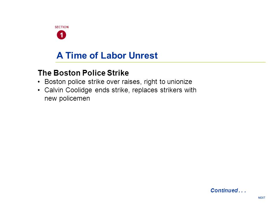 A Time of Labor Unrest The Boston Police Strike 1