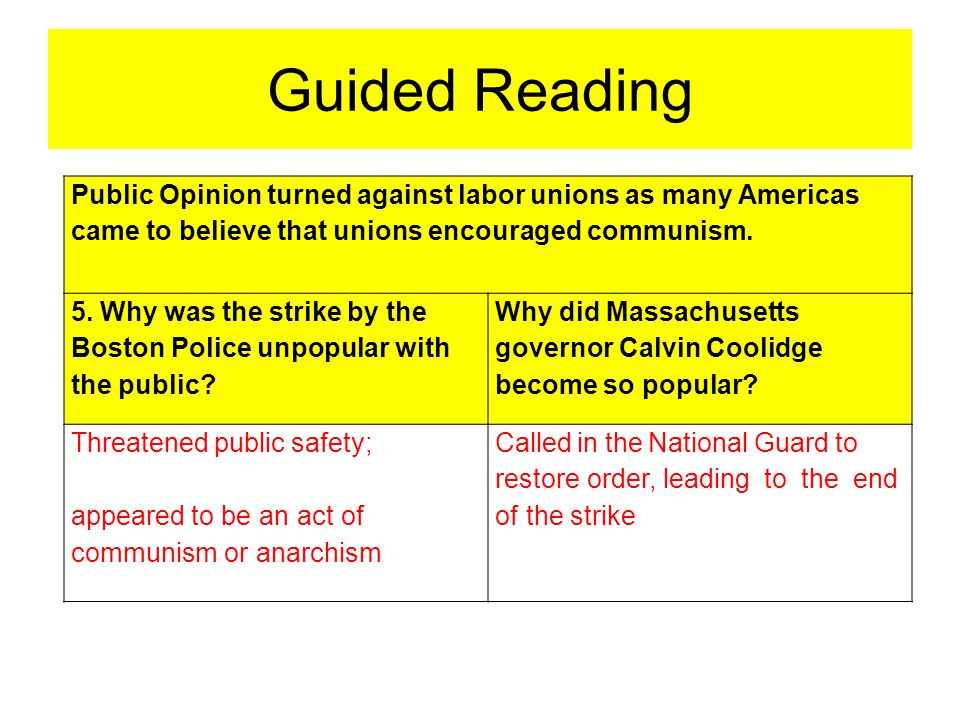 Guided Reading Public Opinion turned against labor unions as many Americas came to believe that unions encouraged communism.