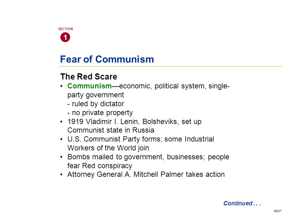 Fear of Communism The Red Scare 1