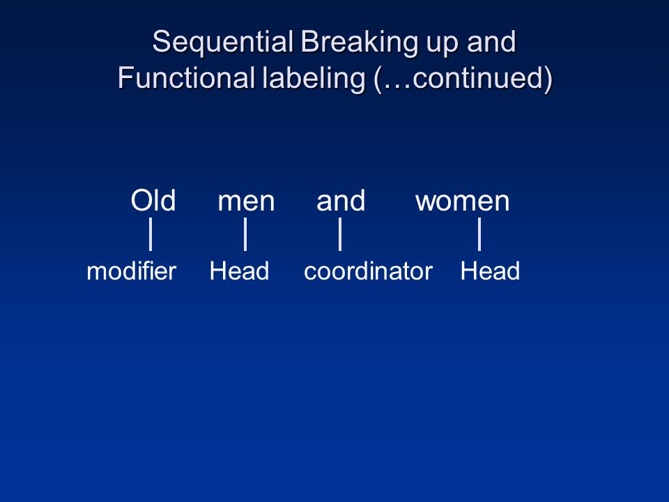 Sequential Breaking up and Functional labeling (…continued)