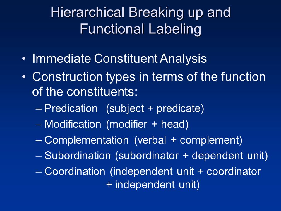 Hierarchical Breaking up and Functional Labeling