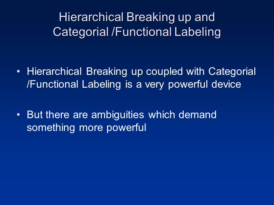 Hierarchical Breaking up and Categorial /Functional Labeling