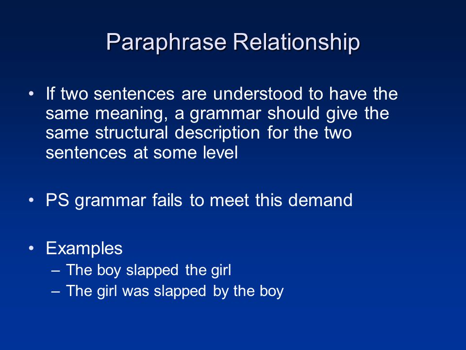 Paraphrase Relationship