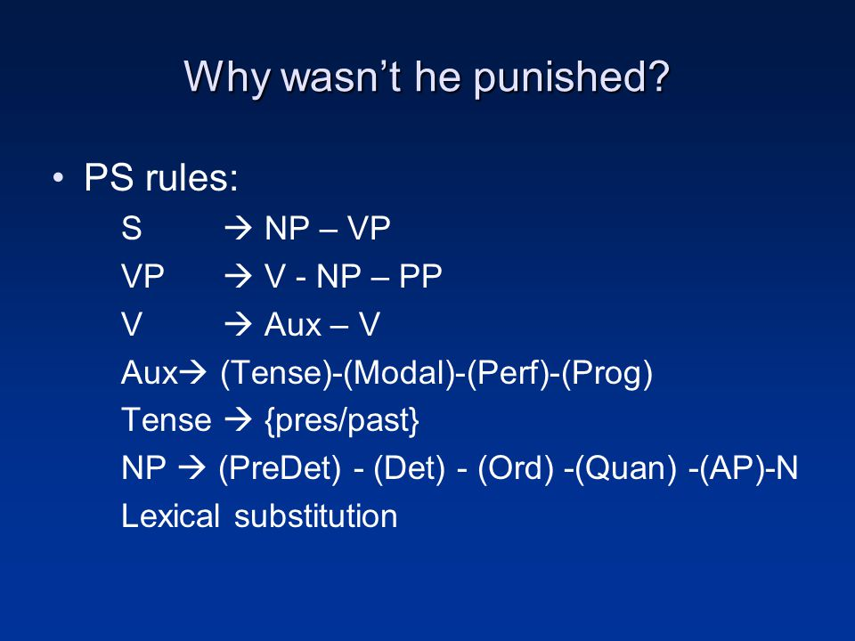 Why wasn't he punished PS rules: S  NP – VP VP  V - NP – PP