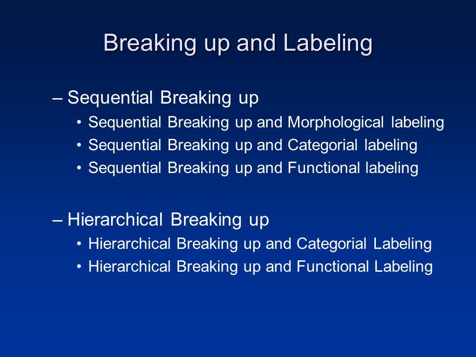Breaking up and Labeling