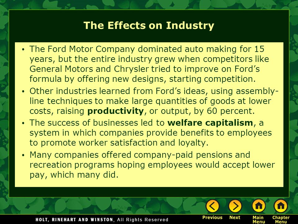 The Effects on Industry