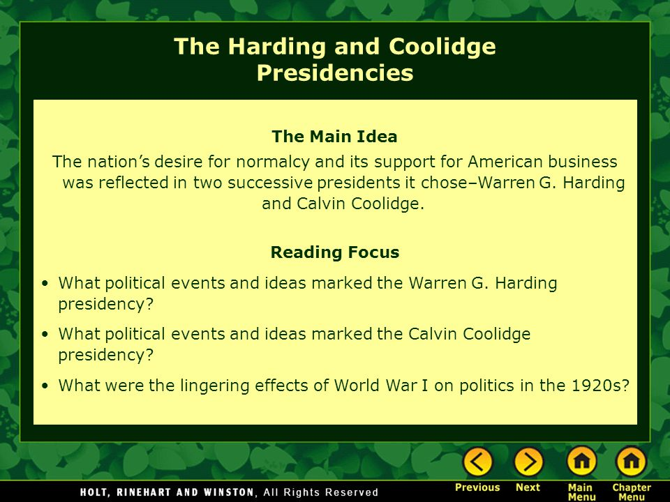 The Harding and Coolidge Presidencies