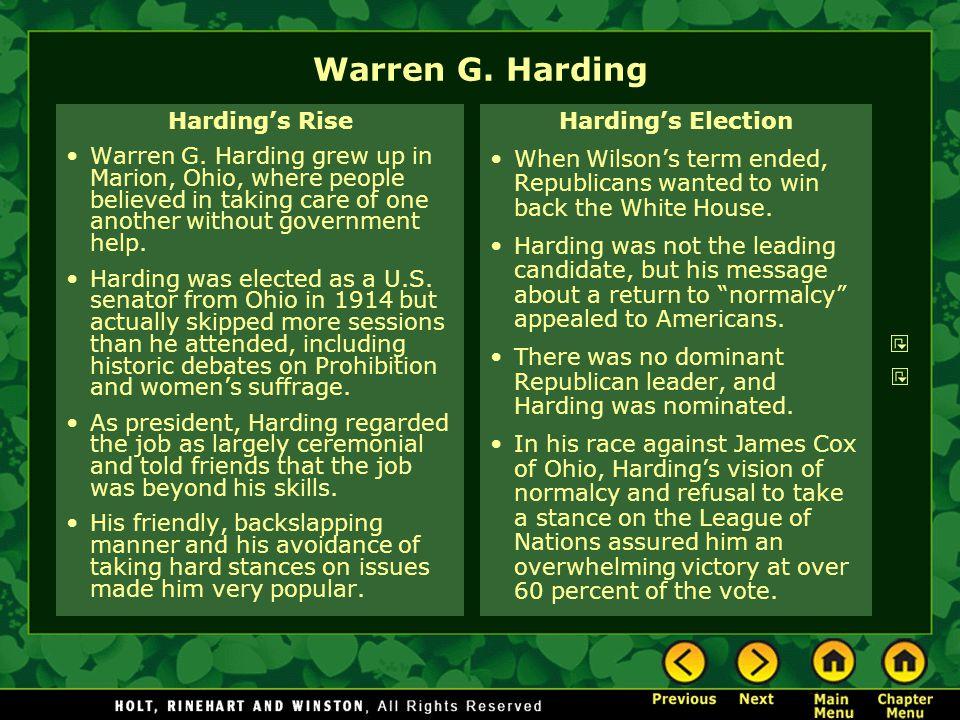 Warren G. Harding Harding's Rise
