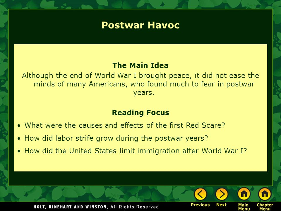 Postwar Havoc The Main Idea