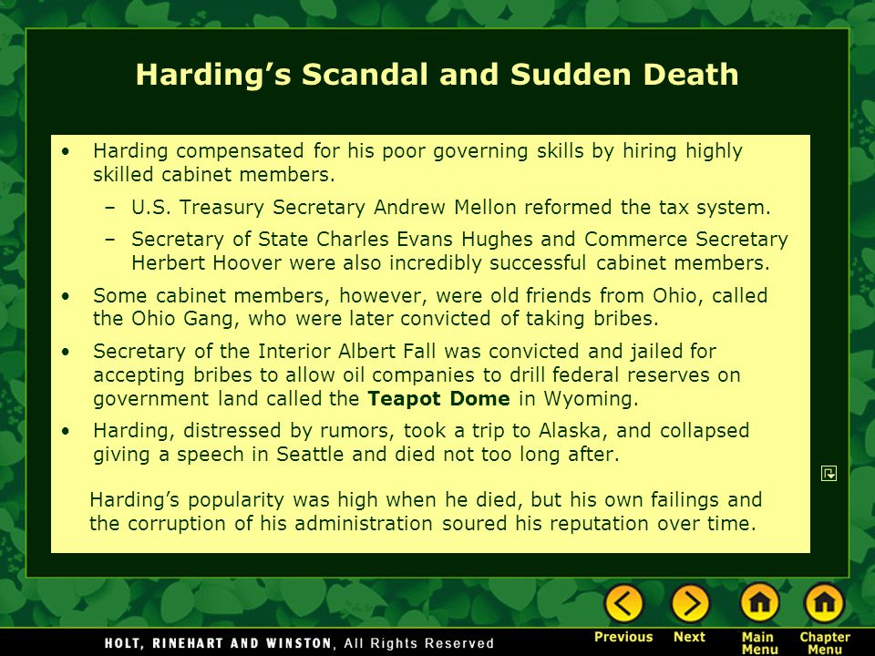 Harding's Scandal and Sudden Death