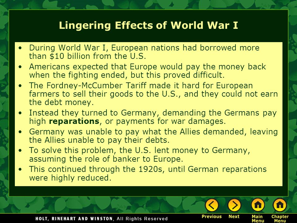 Lingering Effects of World War I