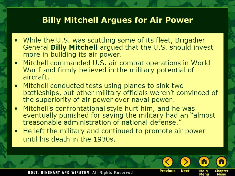 Billy Mitchell Argues for Air Power