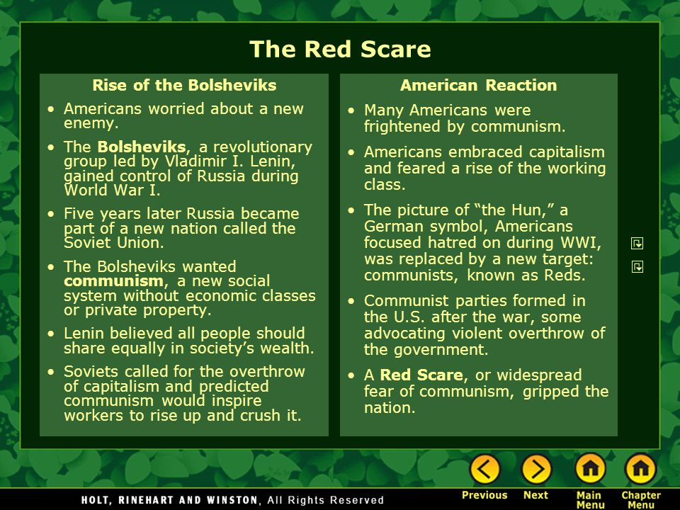 The Red Scare Rise of the Bolsheviks