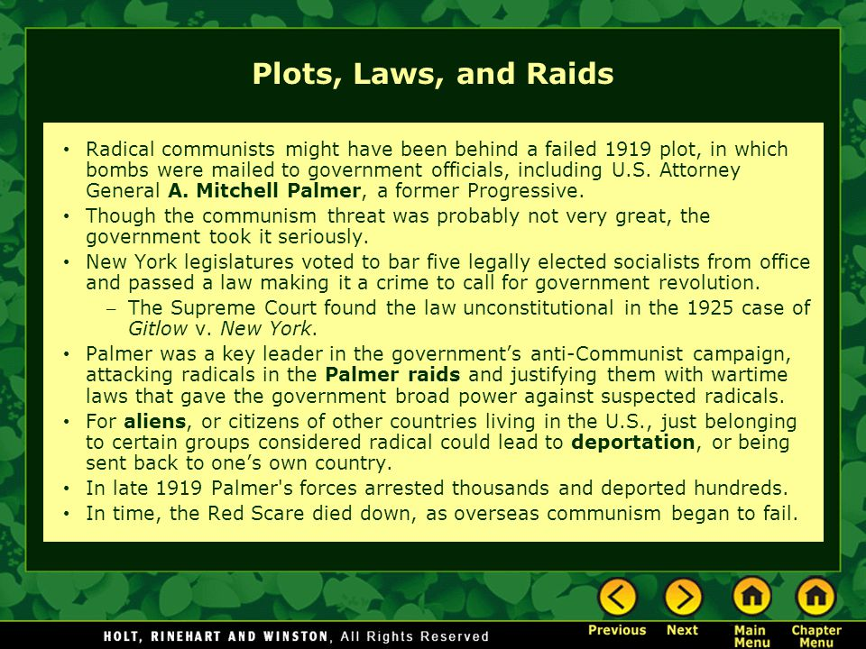 Plots, Laws, and Raids