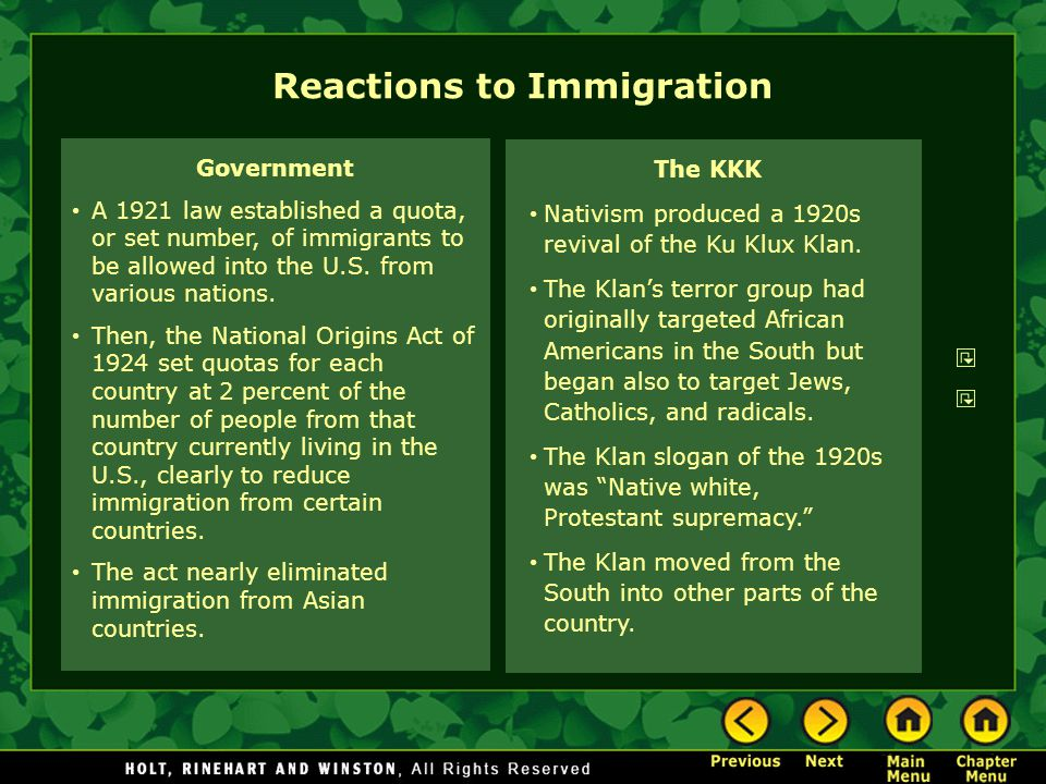 Reactions to Immigration