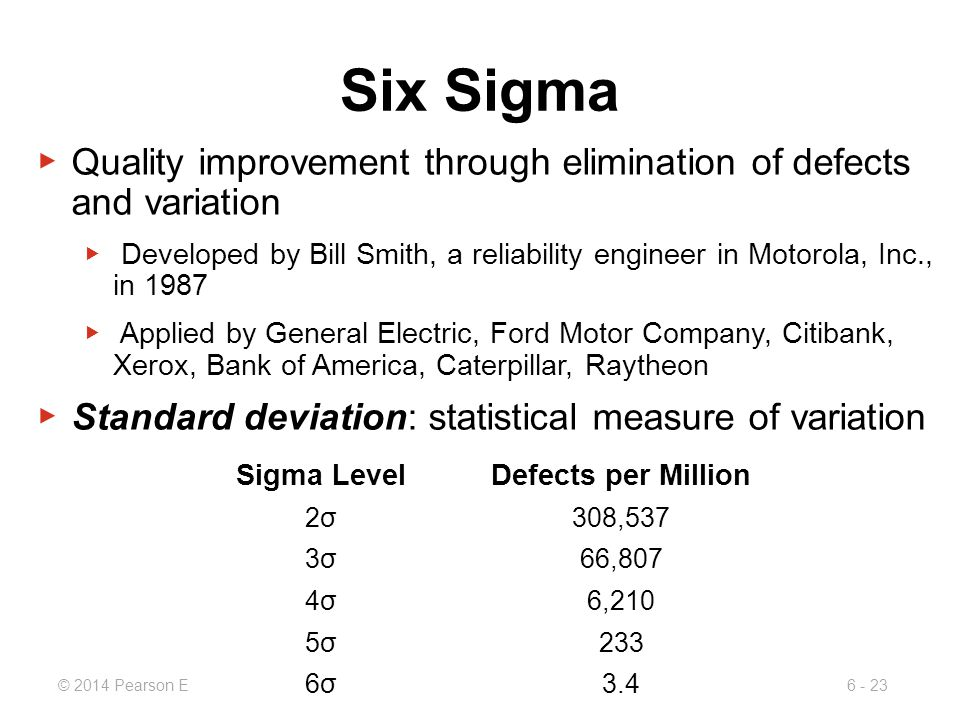 Six Sigma Quality improvement through elimination of defects and variation.