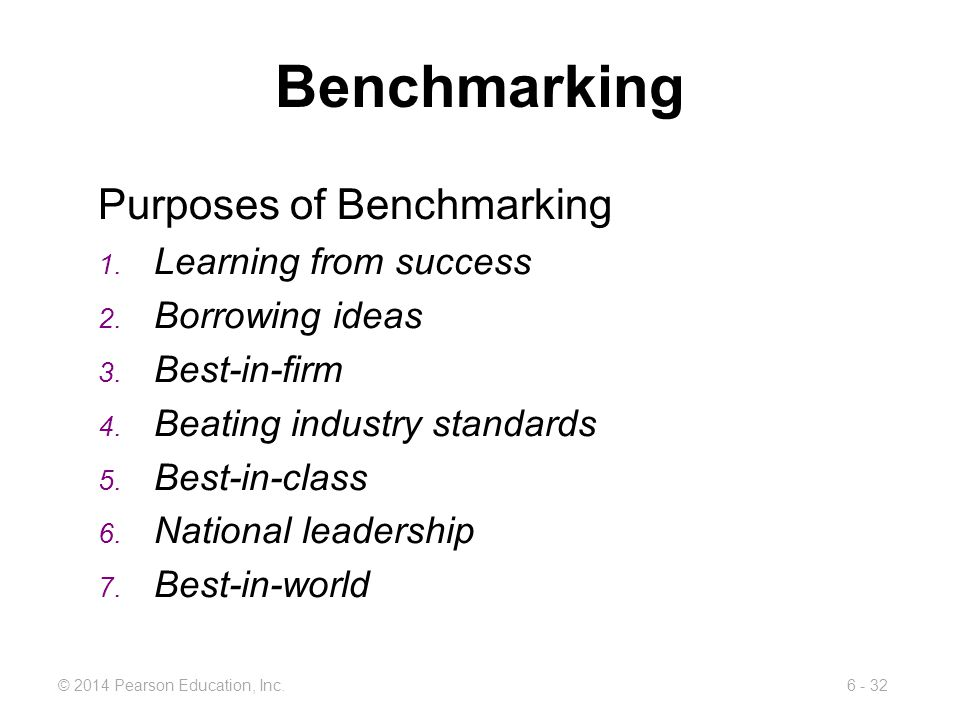 Benchmarking Purposes of Benchmarking Learning from success