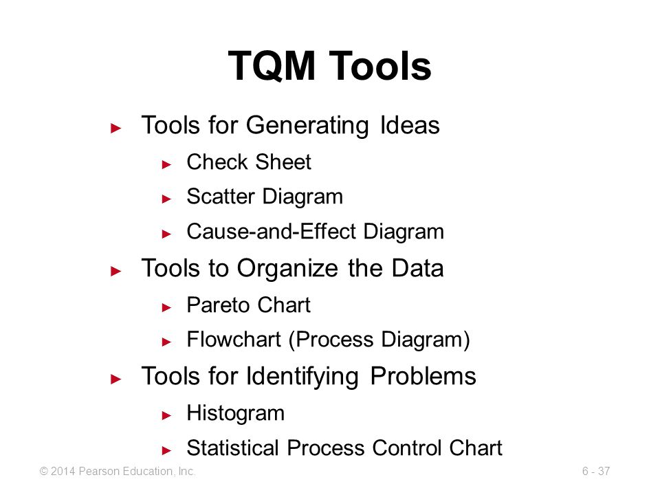 TQM Tools Tools for Generating Ideas Tools to Organize the Data