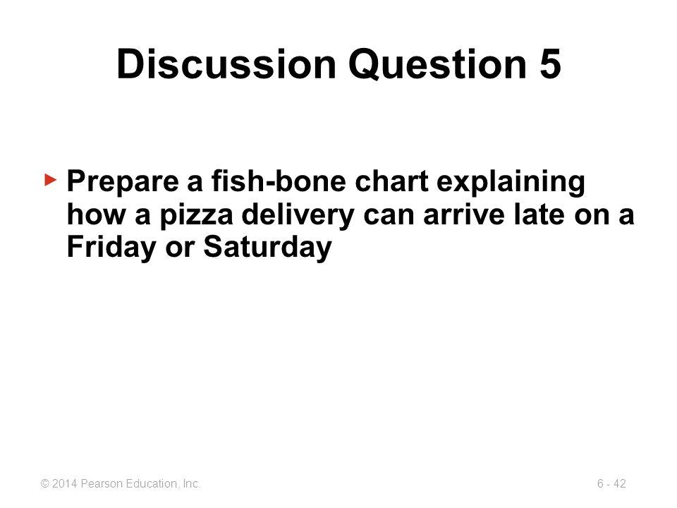 Discussion Question 5 Prepare a fish-bone chart explaining how a pizza delivery can arrive late on a Friday or Saturday.
