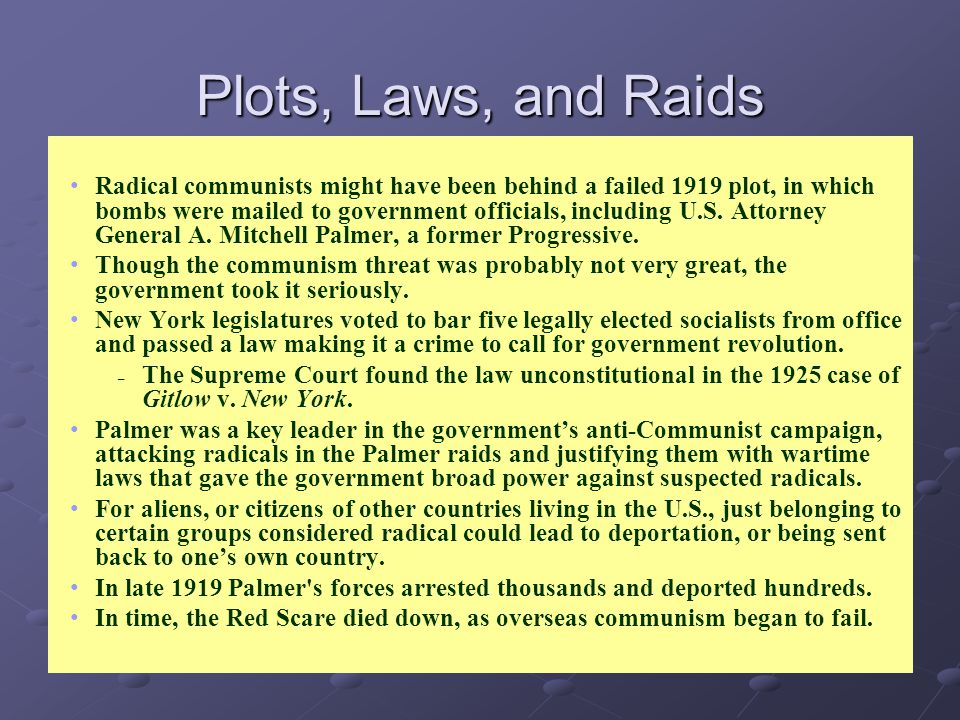 Plots, Laws, and Raids