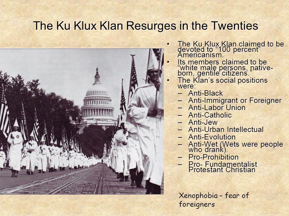 The Ku Klux Klan Resurges in the Twenties