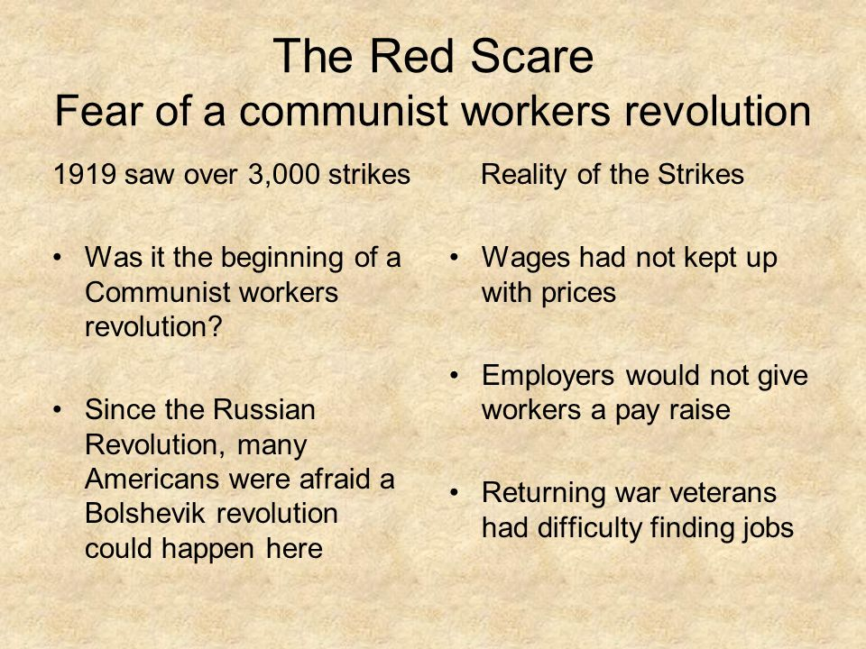 The Red Scare Fear of a communist workers revolution