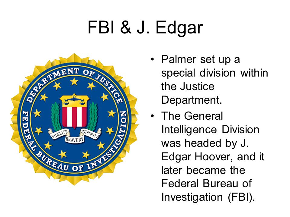 FBI & J. Edgar Palmer set up a special division within the Justice Department.