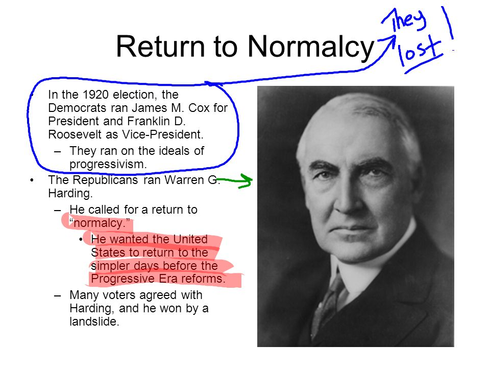 Return to Normalcy In the 1920 election, the Democrats ran James M. Cox for President and Franklin D. Roosevelt as Vice-President.
